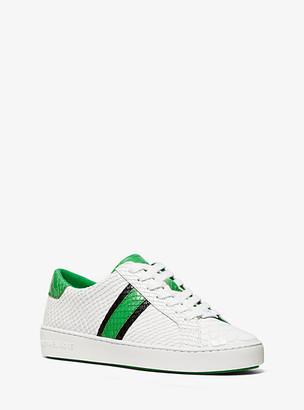 Michael Kors Irving Snake-Embossed Leather Stripe Sneaker