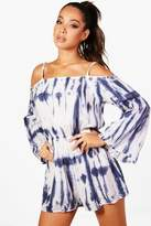 boohoo Celia Tie Dye Cold Shoulder Beach Playsuit