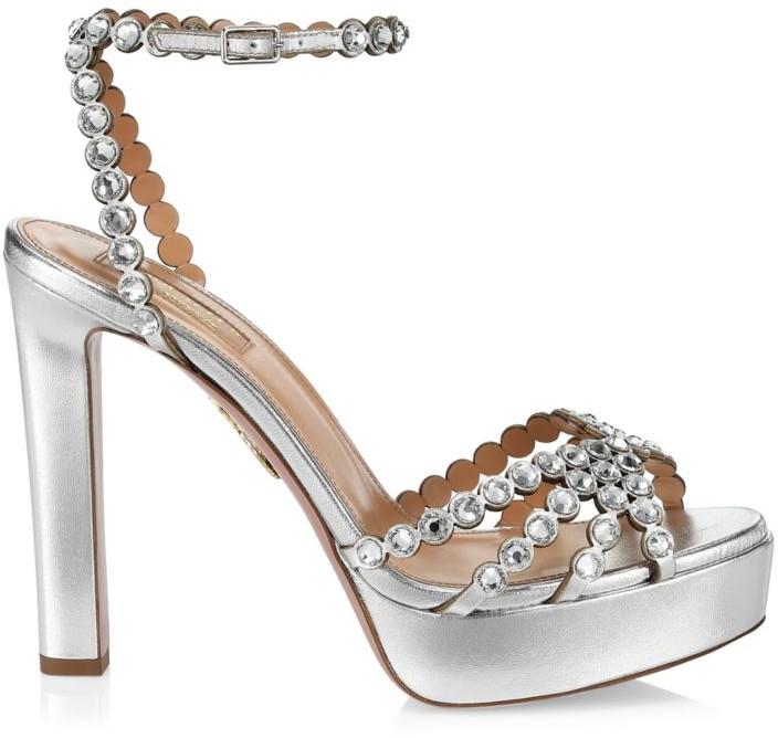 Aquazzura Tequila Crystal-Embellished Metallic Leather Platform Sandals