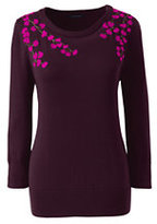 Classic Women's Petite Supima 3/4 Sleeve Sweater-Darkest Burgundy Embroidery