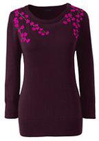 Classic Women's Plus Size Supima 3/4 Sleeve Sweater-Darkest Burgundy Embroidery