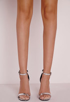 Missguided High Shine Barely There Heeled Sandals Silver