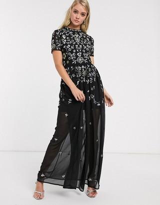 Frock and Frill embellished short sleeve chiffon skirt maxi dress-Black