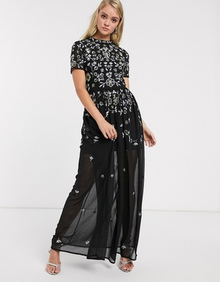 Frock and Frill embellished short sleeve chiffon skirt maxi dress