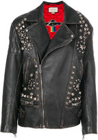 Gucci Future distressed biker jacket - women - Calf Leather/Polyester/Cupro - 40