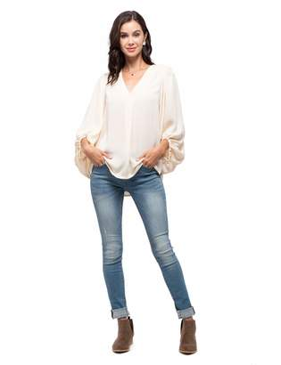 August Sky Women's Casual V Neck Top Bishop Long Sleeve Solid Blouse Tunic Top-Khaki-L