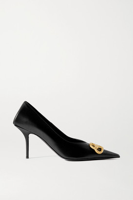 Balenciaga Square Knife Bb Logo-embellished Leather Pumps - Black