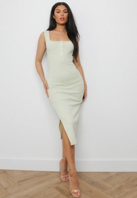 Missguided Green Ribbed Button Front Midi Dress