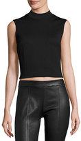 McQ by Alexander McQueen Sleeveless Cropped Ponte Top, Darkest Black