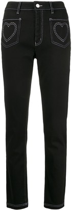 Love Moschino high rise heart embroidered jeans