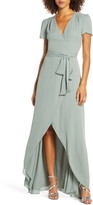 WAYF The Zoey Short Sleeve Wrap Gown