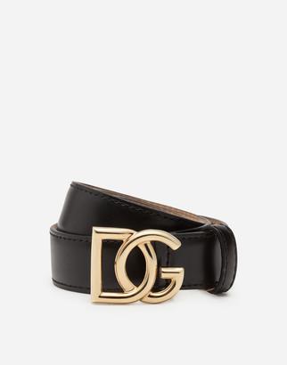 Dolce & Gabbana Leather Belt With Millennials Logo
