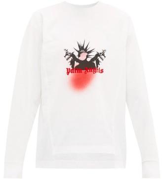 Palm Angels 8 Moncler Graffiti-print Long-sleeved Cotton T-shirt - Mens - White