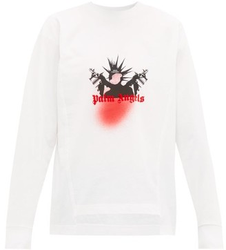 8 Moncler Palm Angels - Graffiti-print Long-sleeved Cotton T-shirt - White