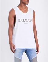 Balmain Logo-print cotton-jersey vest top