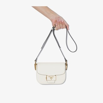 Prada white Embleme leather cross body bag