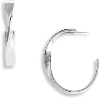 St. John Large Twist Metal Hoop Earrings