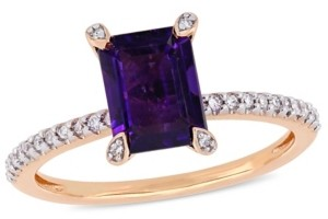 Macy's Amethyst (1-1/2 ct.t.w.) and Diamond (1/10 ct.t.w.) Ring in 10k Rose Gold