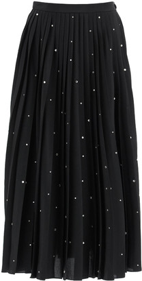 Miu Miu Pleated Midi Skirt With Crystals