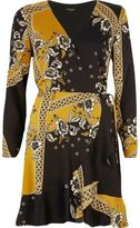 River Island Womens Yellow floral print cold shoulder wrap dress
