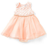 Rare Editions Baby Girls 12-24 Months Basket-Weave Pearl Trim Dress