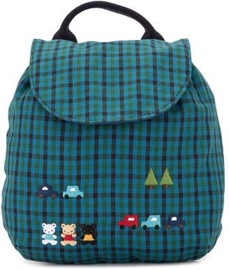 Familiar Embroidered Check Print Backpack