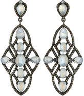 Bavna Moonstone & Diamond Geometric Drop Earrings