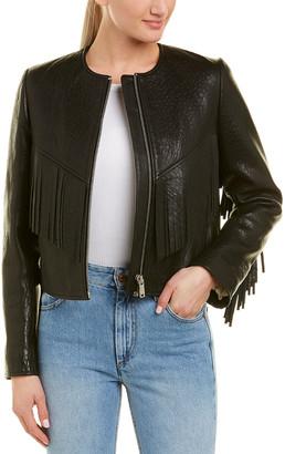 Isabel Marant Fringe Silk-Trim Leather Jacket