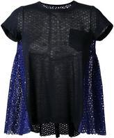Sacai flared eyelet T-shirt - women - Cotton/Linen/Flax/Polyester - 3