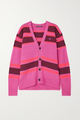 Acne Studios Appliqued Striped Wool Cardigan - Pink