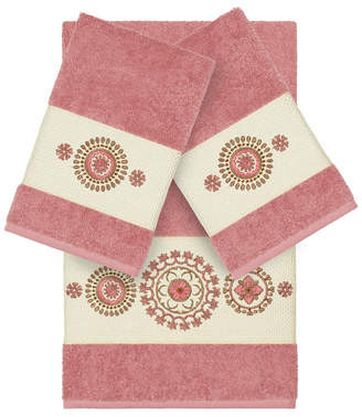 Isa Belle Linum Home Isabelle 3-Pc. Embroidered Turkish Cotton Bath and Hand Towel Set Bedding
