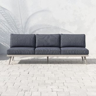 Bungalow Rose Franko Tilly Teak Patio Sofa with Cushions Frame Color: Weathered Gray, Cushion Color: Faye Navy