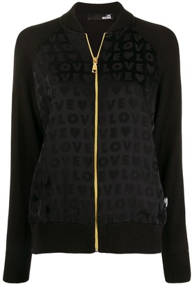 Love Moschino love print bomber jacket