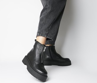 Office Abuzz Chunky Front Zip Boots Black Leather