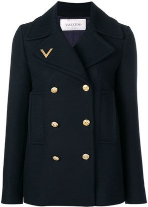 Valentino logo embroidered peacoat