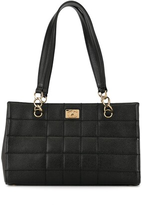 Chanel Pre Owned Choco Bar quilt detail CC turn-lock tote