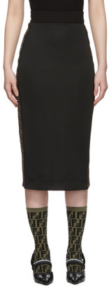 Fendi Black Logo Band Pencil Skirt