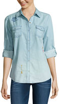 Arizona Embroiderd Denim Shirt-Juniors