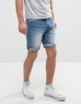Solid Denim Shorts In Mid Wash