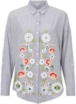 Miss Selfridge Embroidered Stripe Shirt