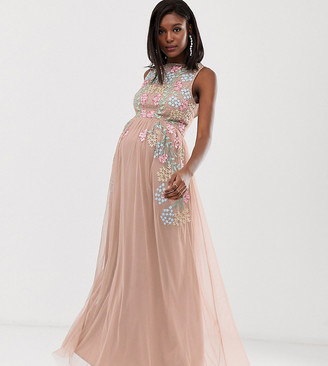 Maya Maternity all over embroidered maxi dress in pink multi