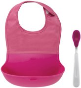 OXO Tot Tot On-the-Go Bib and Spoon Set - Silicone - Aqua - 2 ct