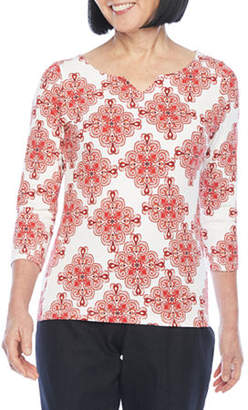 Hearts Of Palm Essentials-Womens Split Crew Neck 3/4 Sleeve T-Shirt