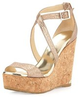 Jimmy Choo Portia Metallic Crisscross Wedge Sandal, Nude