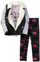 Betsey Johnson Faux Fur Pleather Vest, Tee & Legging Set (Little Girls)