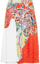 Emilio Pucci Lace-Paneled Printed Crepe Midi Skirt