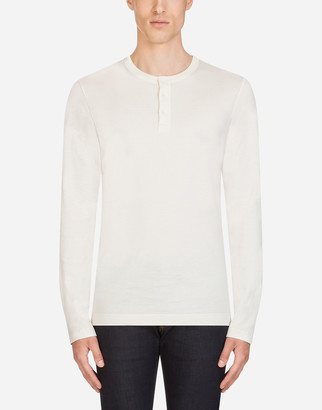 Dolce & Gabbana Cotton Granddad-Neck Sweater With Long Sleeves
