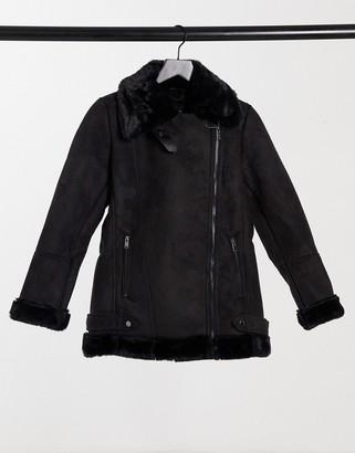 Stradivarius faux suede aviator jacket in black