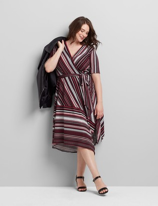 Lane Bryant Crossover Striped Fit & Flare Dress