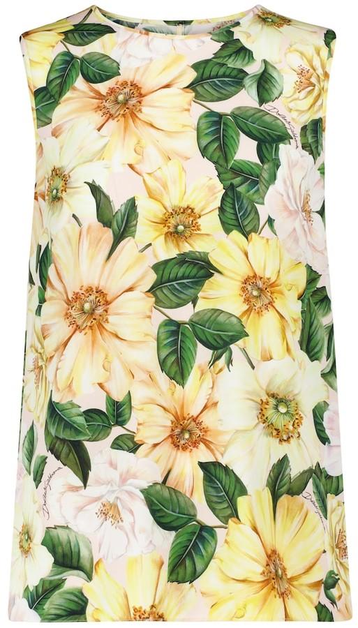 Dolce & Gabbana Floral stretch-silk tank top